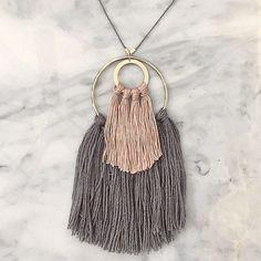 2 // Fiber Necklace // Tassel Necklace by wildcolumbinetextile. Possible artist (fall Tassel Jewelry, Textile Jewelry, Fabric Jewelry, Wire Jewelry, Jewelry Crafts, Beaded Jewelry, Jewelery, Handmade Jewelry, Unique Jewelry