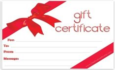 Elegant White Background With A Red Ribbon Tied Around The Gift Certificate Template