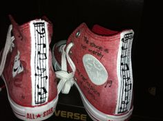 Music, theater, High Top,Converse, Nerd, Custom, fun  handpainted, whimsybykelly