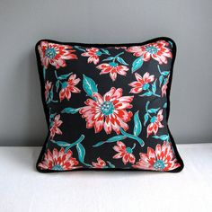 Vintage Fabric Pillow Cover - Black Floral Cotton - 20 Inch Decorative Pillow Throw Pillow