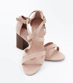 Wide Fit Nude Suedette Strappy Wood Heels | New Look