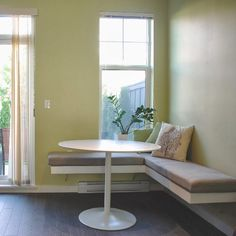 Probably will have to do this with the baseboard // Create a comfortable corner in your kitchen and build your own floating bench!
