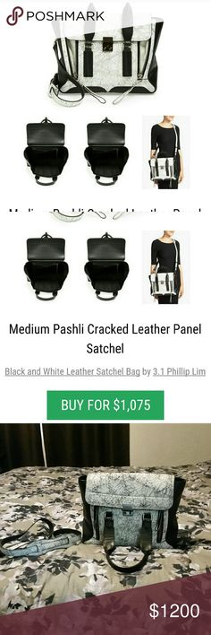 3.1 Phillip Lim cracked leather Pashli Black and white paneled medium sized bag. Used for 2 days only and is in perfect condition!  Unfortunately,  I need a much bigger bag in order to accommodate all the stuff I carry around. Selective trades only. 3.1 Phillip Lim Bags