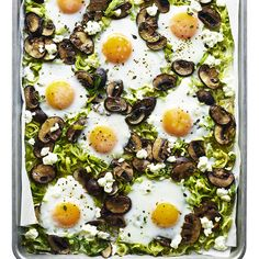 Baked Eggs with Leeks and Mushrooms | MyRecipes  Enjoy this dish hot from the oven, with crusty bread to soak up the runny yolks. For firmer yolks and whites, leave the eggs on the rimmed baking sheet for 4 to 5 minutes before serving.
