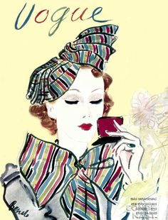 Vogue woman checking her makeup in compact mirror