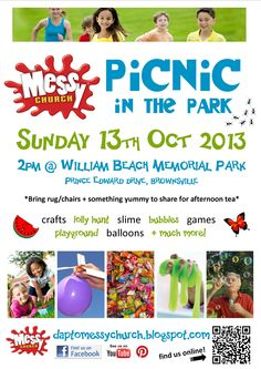 Advert for Spring 'Picnic in the Park' (Dapto Messy Church, Oct My Church, Church Ideas, Bubbly Slime, Church Fundraisers, Find Facebook, Church Events, Picnic In The Park, Kids Events, Children And Family