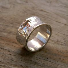 Sterling SIlver Ring A Wide Band Forged