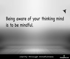 Being aware of your thinking mind is to be mindful. Mindfulness Training