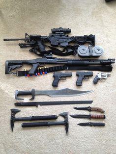 The basic essentials - AR-15 - Mossberg 500 Tactical 12ga Shotgun - Sig Sauer P220 .45ca -XD Compact 9mm - Snub Nose .38 Special -(2) Swords -(3) Knives -(2) Tomahawks