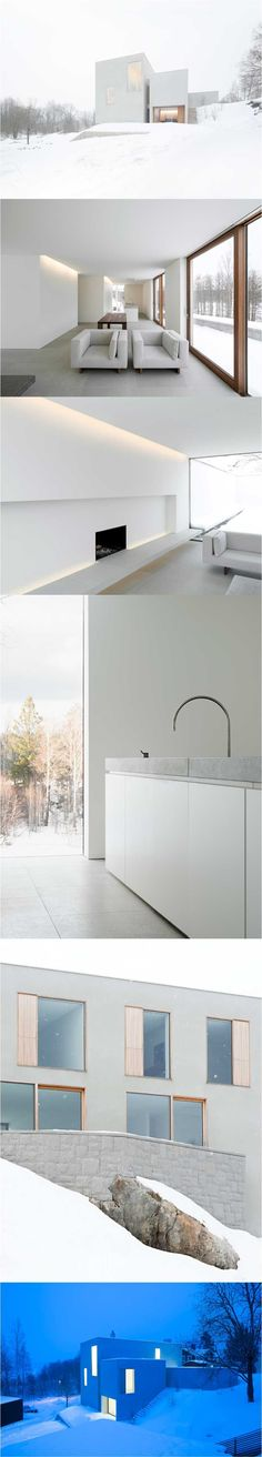 Palmgren House by John Pawson, very slick kitchen cabinet detail, door to floor interface