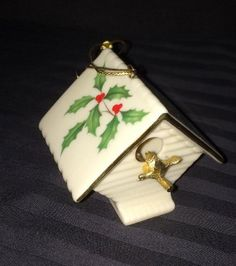 "Lenox 1993 ""Holiday"" Holly Birdhouse Christmas Ornament"