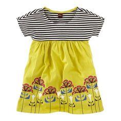Yellow and b&w striped dress