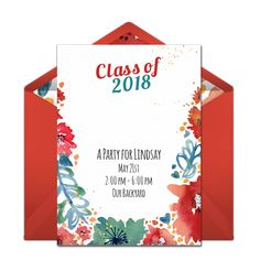 Check out this beautiful, free graduation party invitation with a floral Class of 2016 design. Love this design for celebrating your special grad. Graduation Party Foods, Graduation Party Invitations, Grad Parties, Online Invitations, Invites, Homemade Cleaning Products, Green Party, Party Guests, Watercolor Flowers