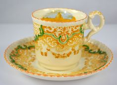 Yellow Transferware Spode Copeland Continental Views Demitasse Cup & Saucer Hand Painted