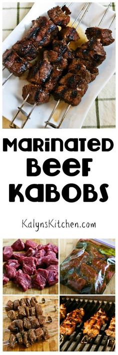 Marinated Beef Kabobs are a tasty dinner from the grill that's low-carb, gluten-free, South Beach Diet friendly, and they can even be Paleo if you choose the right ingredients. And this will be a hit with the whole family! [found on www.kalynskitchen.com/]
