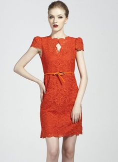 Orange Short Sleeve Belt Lace Bodycon Dress
