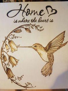 Humming bird and honeysuckle.