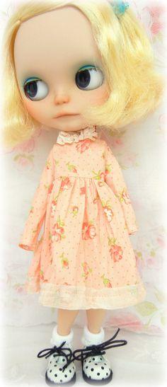 Lovely Floral Peach Spring Dress for Blythe. $26.00, via Etsy.