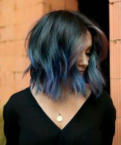 Delightful Blue Hair Color for Chin Length Hair You Might Wish to Have This Year Lavender Hair, Lilac Hair, Hair Color Blue, Blue Hair, Cut Her Hair, Hair Cuts, Chin Length Hair, Beautiful Hair Color, Color Of Life
