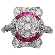 0.15 ct Ruby & 0.75 ct Diamond, 18 ct White Gold Ring - Art Deco - Antique | 1stdibs.com