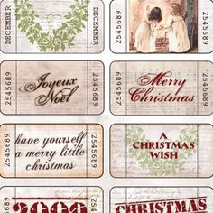 Christmas Tickets for Mini books, Scrapbooking Merry Christmas Wishes, Christmas Gift Tags, Christmas Love, All Things Christmas, Vintage Christmas, Christmas Holidays, Christmas Crafts, Christmas Palace, Collages