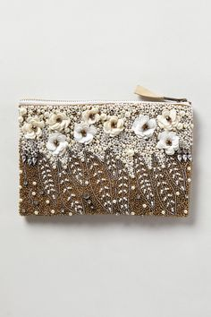 Floral Pearl Pouch from Anthropologie. The perfect clutch for evenings. Beaded Clutch, Beaded Purses, Beaded Bags, Diy Accessoires, Tambour Embroidery, Embroidered Bag, Vintage Purses, Womens Purses, Evening Bags