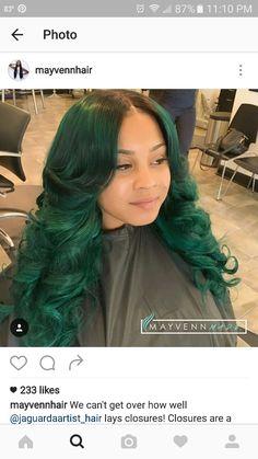 ✨||To see more follow @Kiki&Slim Dope Hairstyles, Weave Hairstyles, Pretty Hairstyles, Straight Hairstyles, Love Hair, Gorgeous Hair, Green Hair Girl, Hair Cutting Techniques, Natural Hair Styles