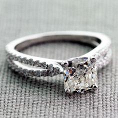 1.00 Carat Cushion Center Diamond in our Dual-Shank Engagement Ring. Sparkling Splendor!!