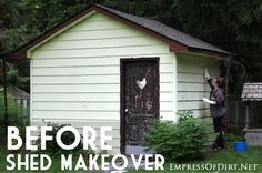 Before & After: Shed Makeover - painting vinyl siding