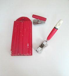 Wooden Knife Holder Sharpener Jar Opener 1940s by looseendsvintage