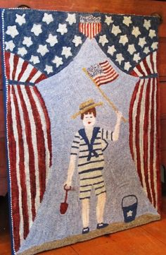Patriotic : Polly Minick hooked rug.
