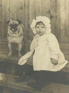 Adorable Toddler Girl and Pet Pug Dog circa 1915