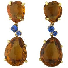 Pomellato Bahia Citrine Sapphire Gold Drop Earrings | From a unique collection of vintage more earrings at http://www.1stdibs.com/jewelry/earrings/more-earrings/