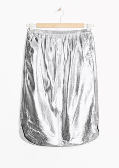 & Other Stories image 2 of Silver Leather Skirt  in Silver