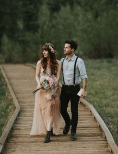 Romantic Yosemite Valley Elopement Inspiration Blush wedding dress by Needle & Thread Rustic Wedding Dresses, Elope Wedding, Wedding Groom, Wedding Suits, Wedding Couples, Boho Wedding, Dream Wedding, Wedding Day, Casual Summer Wedding Attire