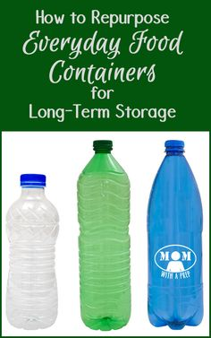 Food storage and emergency supply storage can be costly to organize. Learn about how to repurpose everyday food containers for your long-term needs at MomwithaPREP Emergency Supplies, Emergency Food, Survival Food, Survival Prepping, Emergency Preparedness, Survival Skills, Prepper Supplies, Prepper Food, Emergency Planning
