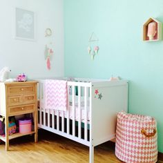 show me your room maeva decoration child room babayaga magazine my lovely monsters Source by babayagamag Bedroom Green, Baby Bedroom, Mint Nursery, Kids Room Paint, Mint Blue, Kidsroom, House Colors, Cribs, Children