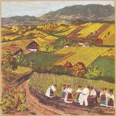 Motivi s Plješivičkog gorja. Croatia Pictures, Naive Art, Watercolor Artwork, Folk Costume, Bulgarian, Aesthetic Art, Illustrators, Traditional, Painters