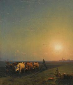 Ploughing the Fields, Crimea, oil on canvas. c.1865 - Ivan Aivazovsky - 1817-1900