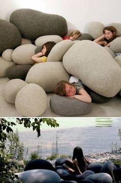 boulder pillows. i want a pile of these in the corner of my (someday) finished basement