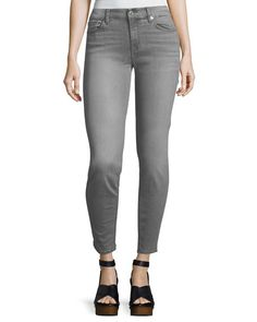 7 FOR ALL MANKIND THE SKINNY MID-RISE FADED JEANS, GRAY. #7forallmankind #cloth #