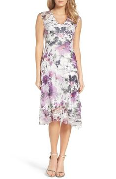 Komarov Floral Lace & Chiffon A-Line Dress | Nordstrom