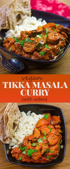 Easy vegan Tikka Masala curry with eggplant/aubergine, red kidney beans and courgette/zucchini. Bean Recipes, Curry Recipes, Vegan Recipes Easy, Veggie Recipes, Indian Food Recipes, Whole Food Recipes, Vegetarian Recipes, Cooking Recipes, Vegan Tikka Masala