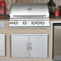 Blaze 32 Inch 4-Burner Built-In Gas Grill With Rear Infrared Burner - Outdoor Kitchen View