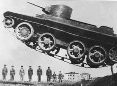 Soviet tank BT-5 in the jump. View from above. Option without tracks. Russian Tanks of World War II.