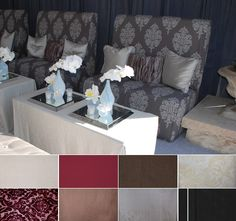 Carter Damask (shown on chairs) - Is this available for linens?  Is it too dark?