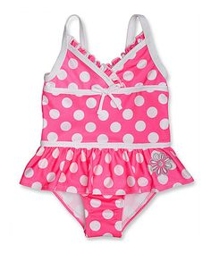 Look at this #zulilyfind! Pink & White Polka Dot One-Piece - Infant, Toddler & Girls by Penelope Mack #zulilyfinds