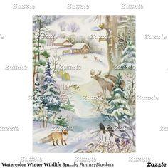 Watercolor Winter Wildlife Small Fleece Blanket