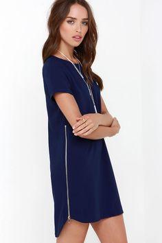 New Era Navy Blue Shift Dress at Lulus.com!