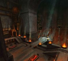 Great Hall of the Soul Forge, the deepest core of the ruins of Hirol Hall.  The heroes of the Night Watch made it here to search for Dwarven Lyrium Stones, ancient armor and weapons, and stumbled upon the great Soul Forge here, a powerful and ancient dwarven place of magic from long ago.
